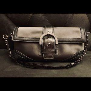 Coach Satin/Leather/Rhinestone Evening Bag/Clutch